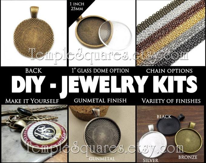 DIY 1 inch Jewelry Pendant Necklace Trays Settings with Glass Domes and Chains options. YW Relief Society Gifts LDS Craft Supplies