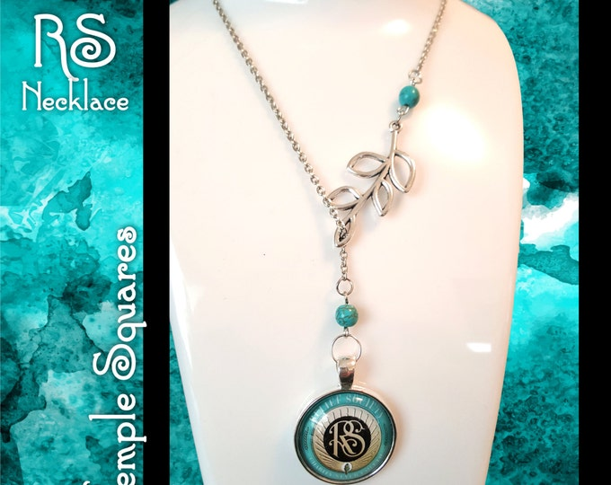 Symbolic RS Necklace for LDS Women. Charms representing Laurel and Relief Society, Silver Turquoise Beads Jewelry missionary birthday gift