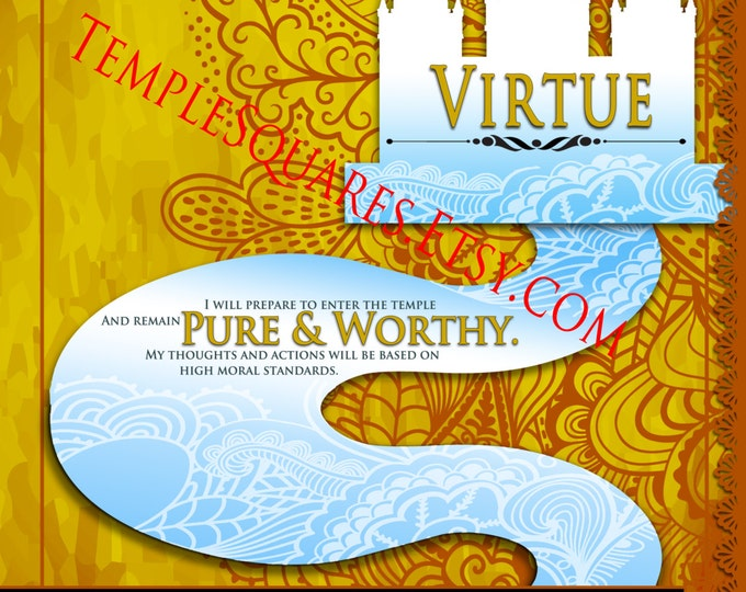 """Printable - 3 sizes! LDS Young Women Personal Progress Values """"Virtue"""" Green Lace Art Instant Download Digital Files"""
