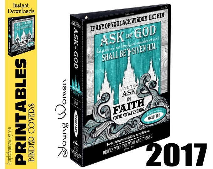 Printable bundle YW Young Women Presidency Mutual Theme Ask of God Ask in Faith Binder Cover and Spines for Calendars Planners Temple