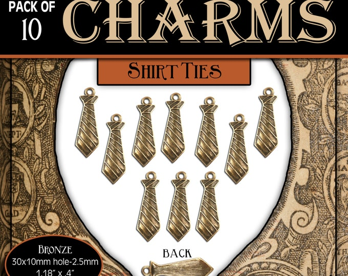 CHARMS - Missionary Neck Tie - Pack of 10 Charms. diy Jewelry Findings for Necklaces, Bracelets, Pendants, LDS Craft Supplies