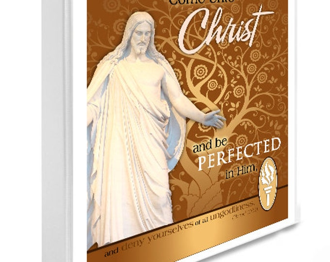 Printable Binder Cover and Spines. LDS Temple Art with YW Young Women Come Unto Christ. Instant Digital download file Gold Christ