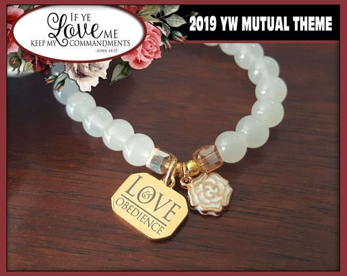 Charm Bracelet YW 2019 Love & Obedience If Ye Love Me Keep My Commandments Young Women LDS Mutual Theme Jewelry Natural Stone Beads