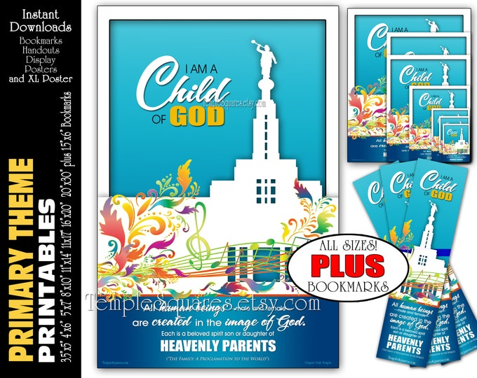 I Am A Child Of God Primary Theme Printable Poster Bundle Handouts Plus Bookmarks Instant Download Come Follow Me LDS Youth YW FHE