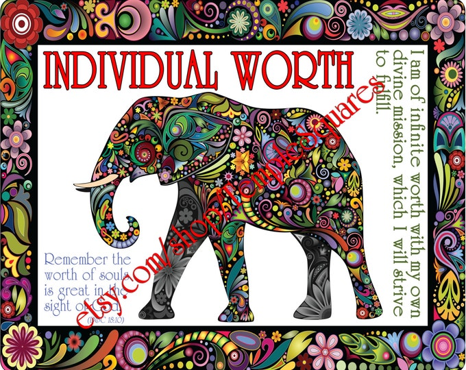 "PRINTABLE Young Women Values Personal Progress ""INDIVIDUAL WORTH"" 4x6, 5x7, and 8x10"