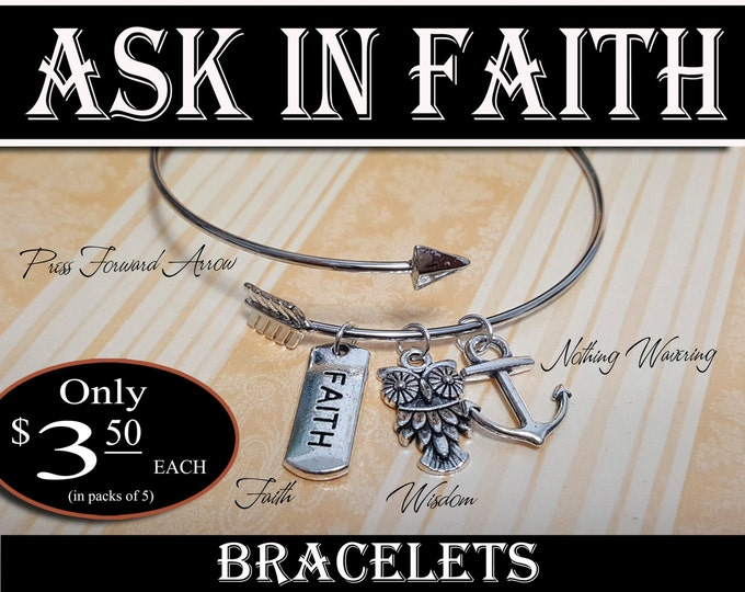 YW Ask of God Ask in Faith Charm Bracelets Young Women Theme Jewelry Charms New Beginnings, Missionary, Christmas, Birthday gifts