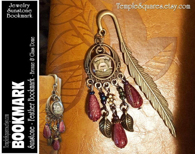 Bronze Bookmark LDS Temple Sunstone Feather and Beads. Birthday, Missionary Christmas, Visiting Teaching Relief Society Jewelry Gift YW