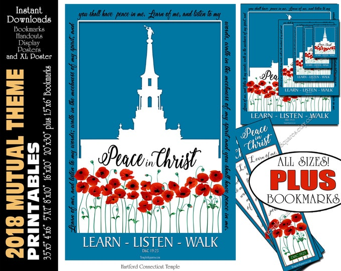 2018 Mutual Theme LDS YW Peace in Christ Peace in me D&C 19:23 Printable Posters Bookmarks Instant Download Hartford Connecticut Temple