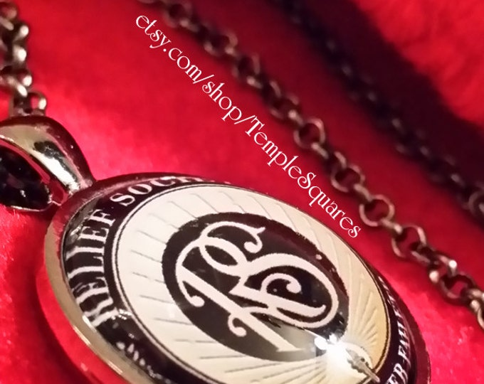 Jewelry Relief Society Emblem Pendant Necklace LDS Charity Never Faileth Presidency Birthday Missionary Ministering Gift Party Celebration