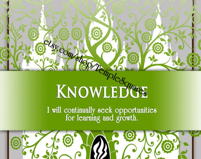 "Printable - 3 sizes! LDS Young Women Personal Progress Values ""Knowledge"" Art 2014 Instant Download Digital Files"