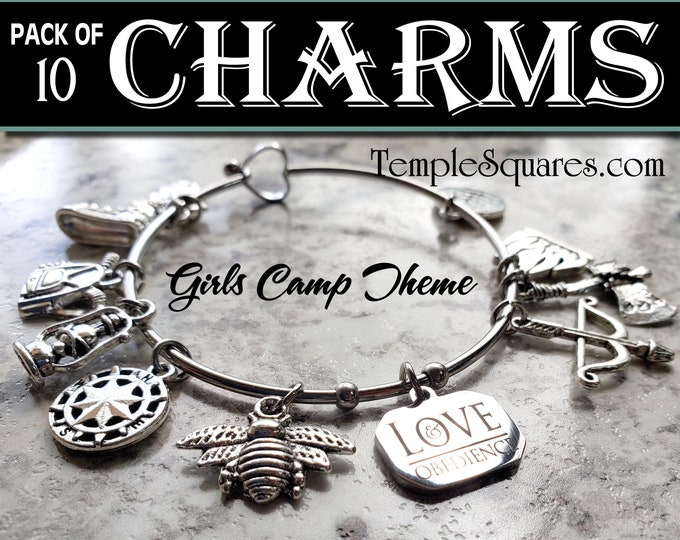 Pack of 10 Girls Camp Charms for Bracelets YW LDS lantern compass tree owl backpack hiking shoe bow arrow Come Follow Me Young Women