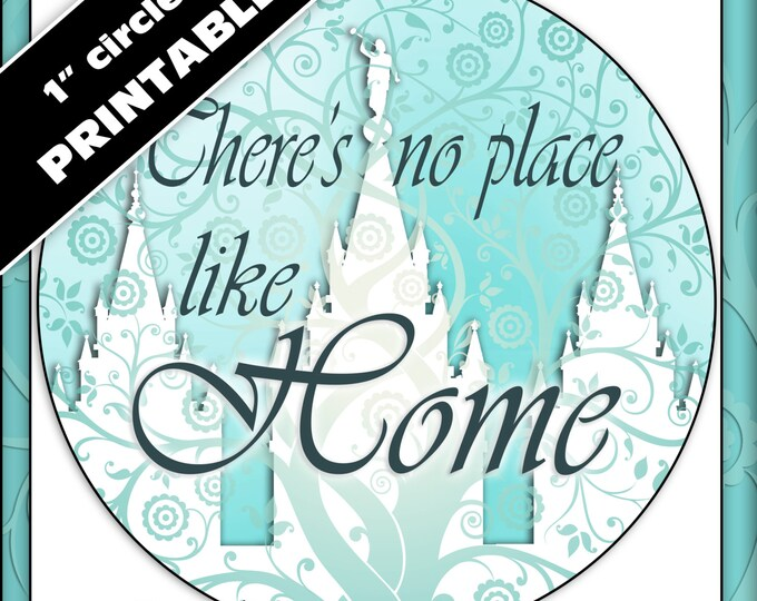 """Printable 1"""" inch circles. """"There's No Place Like Home"""" Digital Collage for labels, stickers, or pendants. Temple Tree of Life"""
