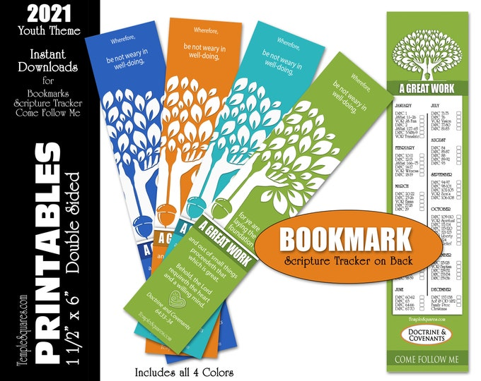 Printable Bookmarks 2021 Youth Theme A Great Work Scripture Tracker on Back YW YM Young Women Young Men Primary Gifts Relief Society