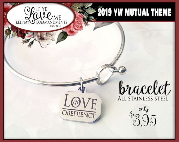 WHOLESALE YW 2019 Mutual Theme Charm Bracelets If Ye Love Me Keep My Commandments Young Women Jewelry Charms gifts, all stainless steel
