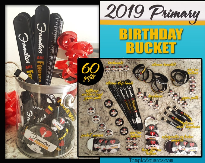 2019 Primary Come Follow Me Families Are Forever Birthday Bucket Variety of bracelets zipper pulls bookmarks slap bands keyrings, bottlecap