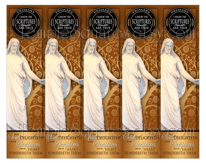 "PRINTABLES Bookmarks Primary 2016 Theme Tree of Life Style ""I Know The Scriptures Are True"" 2 sizes Gold and Black"