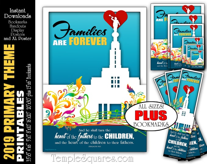 2019 Families Are Forever Primary Theme Printable Poster Bundle Handouts Plus Bookmarks Instant Download Temple Children LDS Presidency