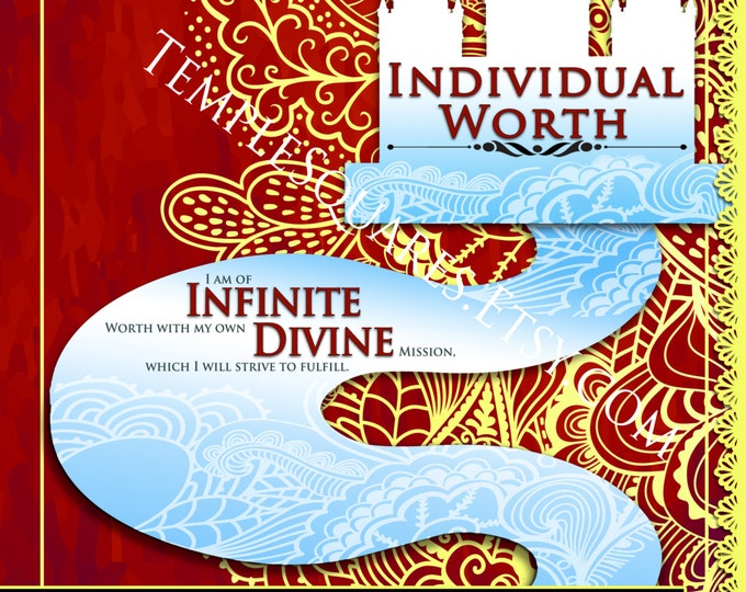 """Printable - 3 sizes! LDS Young Women Personal Progress Values """"Individual Worth"""" Green Lace art Instant Download Digital Files"""