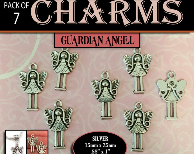Pack of 7 Silver Jewelry Charms Guardian Angel for YW LDS Craft Supplies DIY bracelets, Press Forward, Relief Society, Super Saturdays