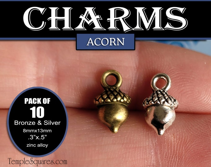 Pack of 10 Acorn Charms for Necklaces, Charm Bracelets, DIY Crafts for Girls Camp Gifts Charm Bracelet Jewelry Supplies A Great Work 2021