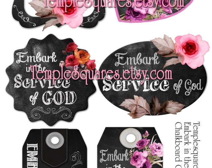 Printable Digital Files for Chalkboard and Roses Style Gift Tags or Labels EMBARK in the Service of God Young Women 2015 Theme YW