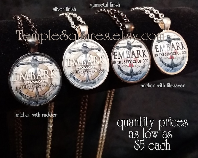 Embark Pendant Necklace YW Young Women Missionary Gifts 2015 Nautical Theme Anchor Rudder Lifesaver Quantity prices as low as 5 dollars each