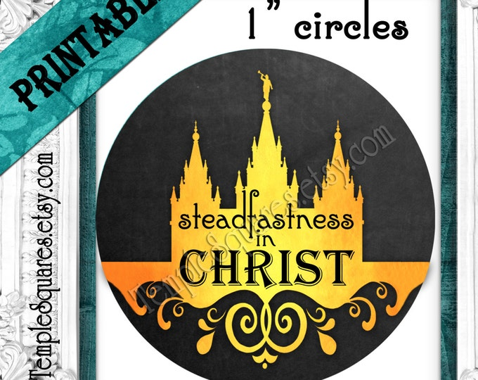 "YW Young Women Printable 1"" inch circles. Chalkboard ""Press Forward""- for labels, stickers, or necklaces DIY instant download digital files"