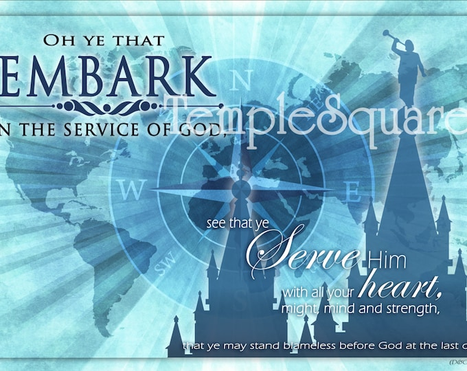 Printable 4 LARGE Frameable poster sizes YW 2015 Theme Embark in the Service of God digital files Blue Series