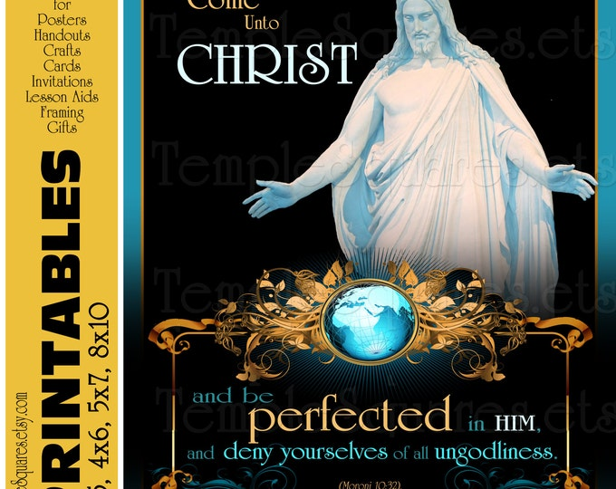 Printables Posters - 4 popular sizes and handouts Come Unto Christ bundle digital collage. Relief Society, YW, mutual, fine art, LDS