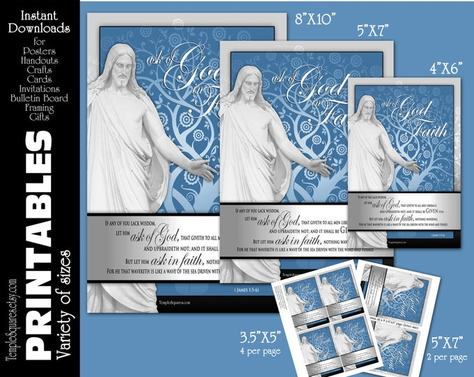 Printable Posters Handouts LDS YW Young Women Mutual Theme Ask of God Ask in Faith 4 sizes. Christ Scripture Crafts James 1:5-6