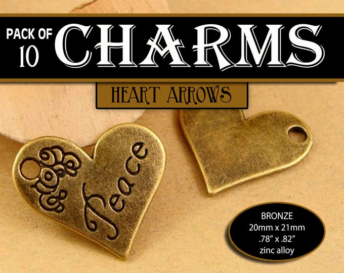 Peace Heart Charms Bronze YW 2018 Peace in Christ Mutual Theme LDS Jewelry Craft Supplies DIY, Pendant, Necklace, Bracelets, Gift, Crafts