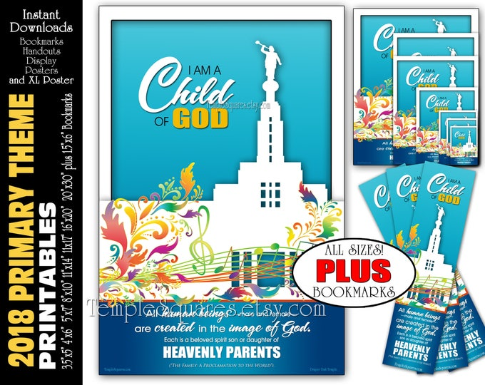 I Am A Child Of God Primary Theme Printable Poster Bundle Handouts Plus Bookmarks Instant Download Temple Art Decor LDS Presidency