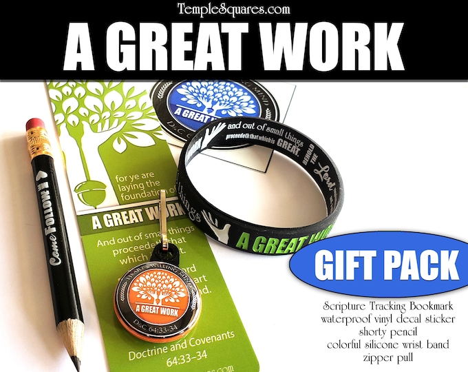 "Gift Set 2021 Children and Youth Theme ""A Great Work"" silicone bracelet vinyl decal, bookmark, zipper pull, pencil, for birthday Christmas"