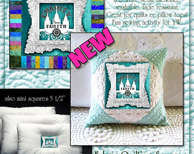 Fabric Quilting Blocks Square LDS temple print textile Kona 100% cotton Young Women YW, Relief Society themes to choose from