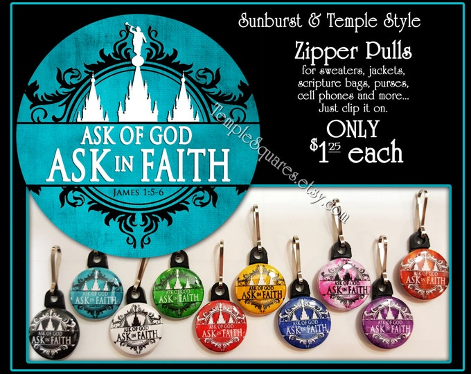 Zipper Pulls Ask of God Ask in Faith YW Mutual Theme Birthdays, Baptism, Great to be Eight, Missionaries Gifts YW Scripture Bag