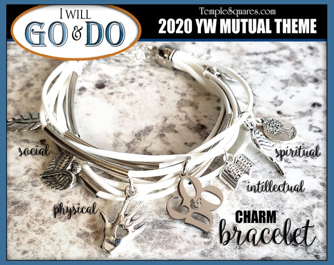 YW 2020 Go and Do Theme Charm Bracelet - 1 Nephi 3:7 Young Women  Jewelry Charms Missionary gift New Beginnings gifts Multi-strand