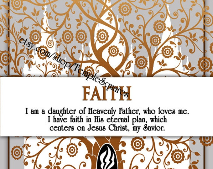 "Printable - 3 sizes! LDS Young Women Personal Progress Values ""Faith"" Art 2014 Instant Download Digital Files"