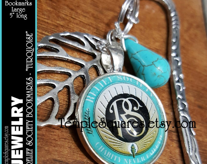 Relief Society Emblem Large Bookmark with Charms. Beautiful Christmas, Birthday, Missionary, or Visiting Teaching Gift. Silver and Turquoise