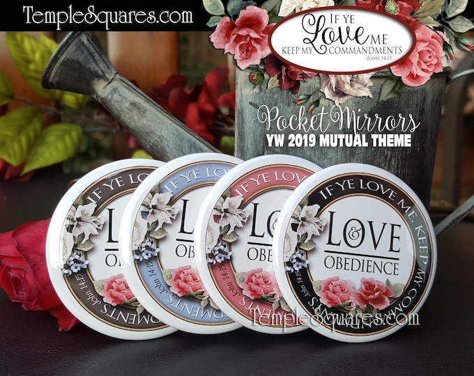 YW If Ye Love Me Keep My Commandments love obedience 2019 Young Women Mutual Theme Pocket Mirror Gift LDS Gifts New Beginnings Birthday YWIE