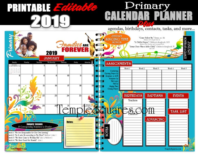 2019 Come Follow Me for Primary Presidency Calendar Planner Families Are Forever LDS  Printable Editable  PDF Bundle Instant download binder