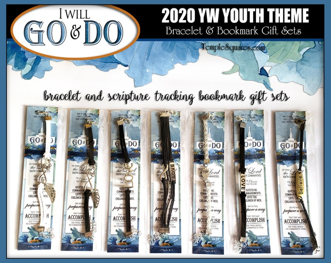 Charm Bracelets & Bookmark Gift Sets I Will Go and Do YW Youth 2020 Young Women New Beginnings Come Follow Me Book of Mormon New Beginnings