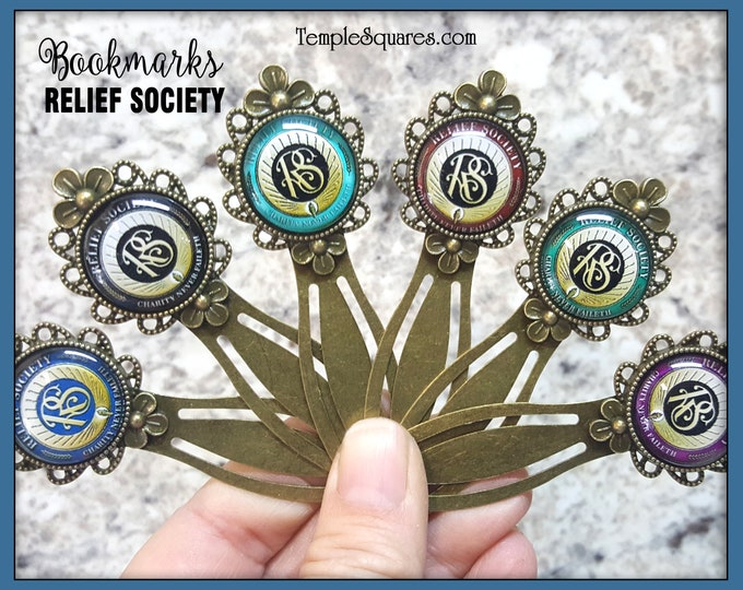 Relief Society Bronze Metal Floral Bookmark with Glass Relief Society Symbol Seal in Six Colors Christmas Gifts  Birthday Gift Ministering