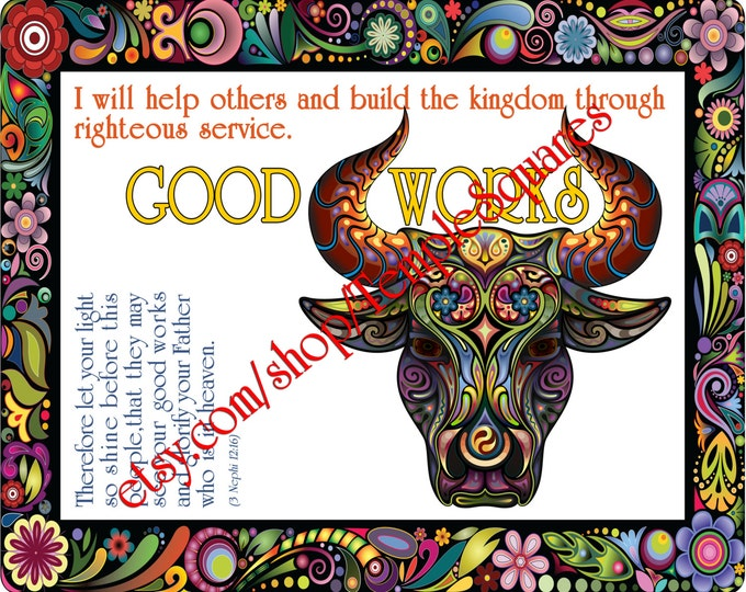 """PRINTABLE Young Women Values Personal Progress """"GOOD WORKS"""" 4x6, 5x7, and 8x10"""