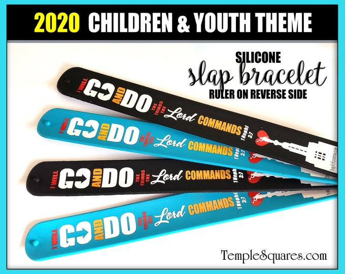 "2020 Primary  ""I Will Go and Do"" silicone slap bracelet wristbands.  Pack of 5 for birthday gifts, baptisms, Christmas 1 Nephi 3:7"