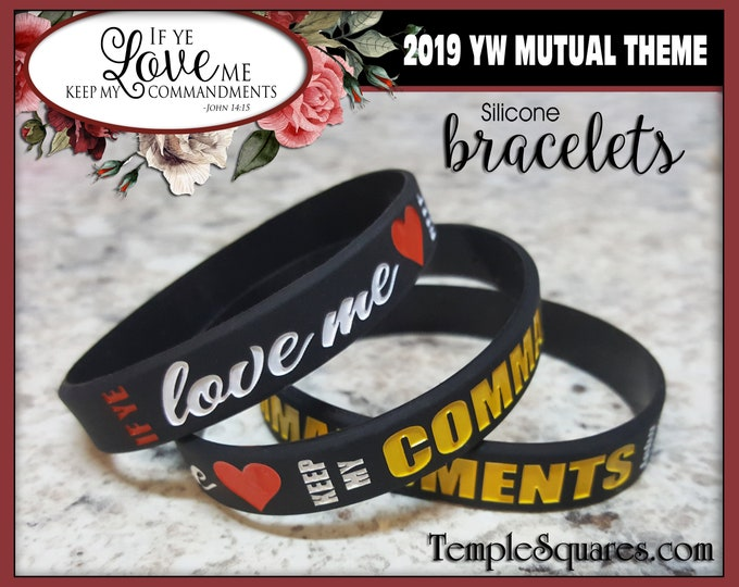 Silicone Bracelet Wristbands YW Youth Theme Come Follow Me If Ye Love Me Keep My Commandments LDS Christmas gift birthday Young Women