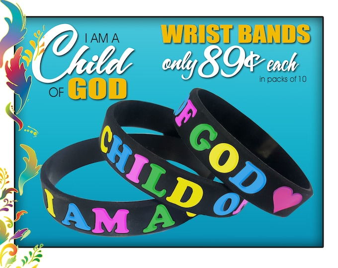 "2018 LDS Primary  ""I Am A Child Of God"" silicone bracelet Multi color wristbands Christmas gift or birthday gifts baptism great to be 8"