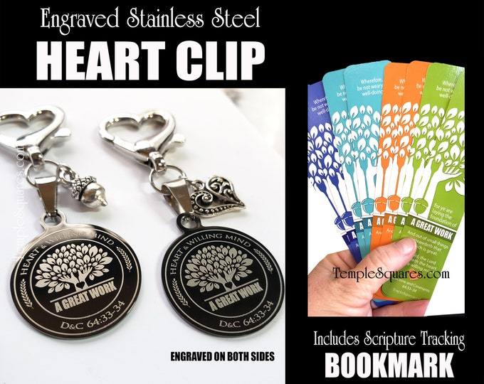 YW 2021 Youth Theme A Great Work Engraved Stainless Steel Heart Clips Young Women New Beginnings YWIE Missionary Relief Society Primary