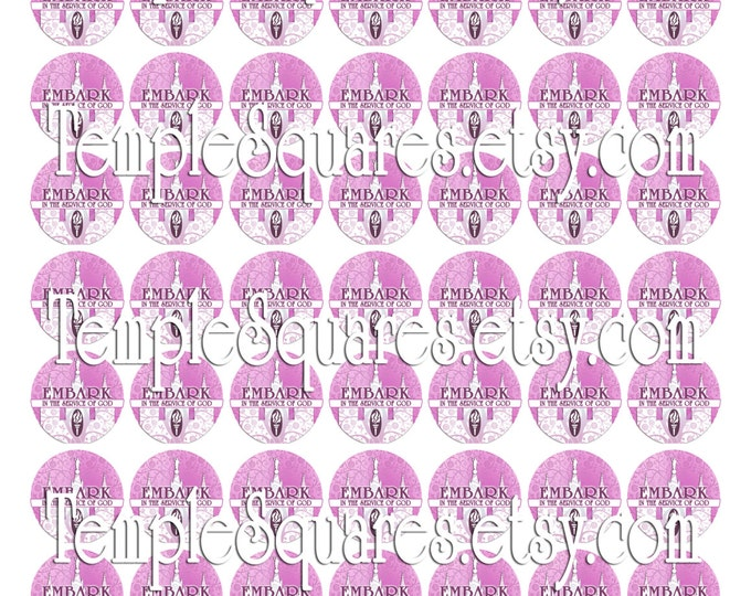 "Printable Digital Files- Stickers Labels Jewelry on 1"" circles LDS Mutual YW Young Women 2015 Theme Embark in the Service of God Pink Temple"