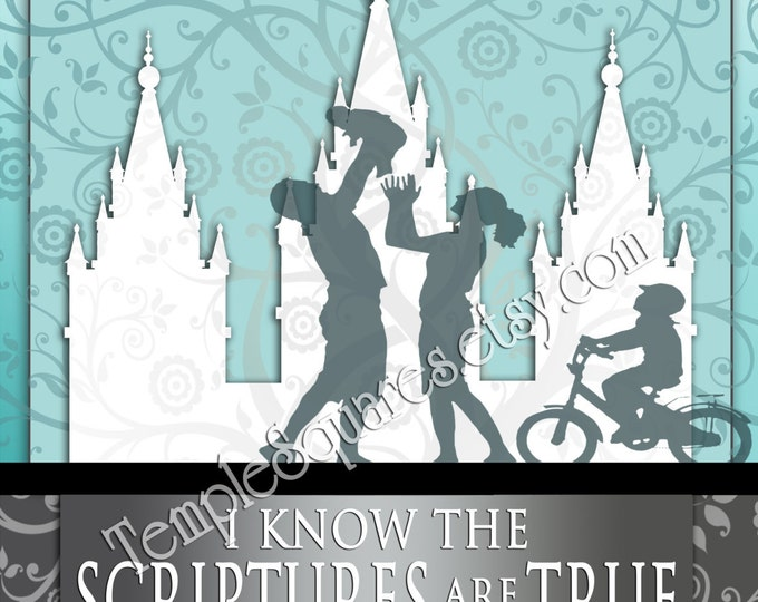 I Know the Scriptures Are True Printable 5 LARGE Frameable poster sizes 2016 Theme Tree of Life LDS Temple art family aqua
