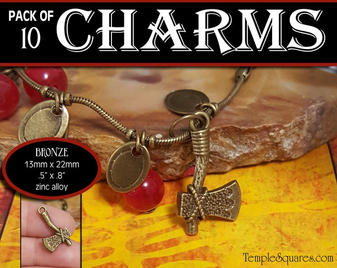 Hatchet Axe Charm - Pack of 10 Charms  - Girls Camp Secret Sister Gifts Charm Bracelet Jewelry Supplies 2019 Come Follow Me New Beginnings
